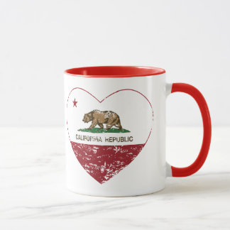 California Republic Heart Distressed Mug