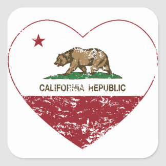 California Republic Heart Distressed Square Sticker