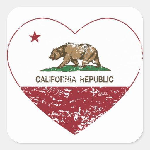 California Republic Heart Distressed Square Sticker