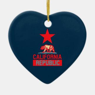 California Republic in Red and Blue Style Decor Ceramic Ornament