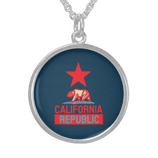 California Republic in Red and Blue Style Decor Sterling Silver Necklace