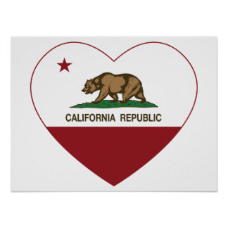 California Republic Love California Heart Poster