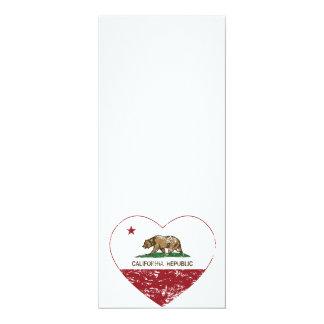 California Republic Love Heart Distressed 4x9.25 Paper Invitation Card