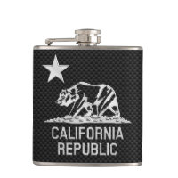 California Republic on Carbon Fiber Print Hip Flasks