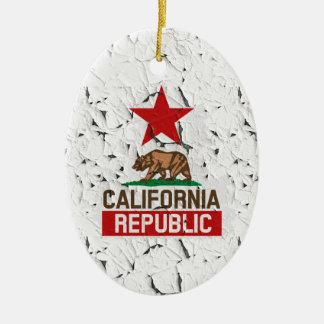 California Republic Peeling Paint Decor Ceramic Ornament
