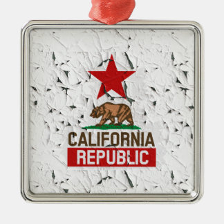 California Republic Peeling Paint Decor Metal Ornament