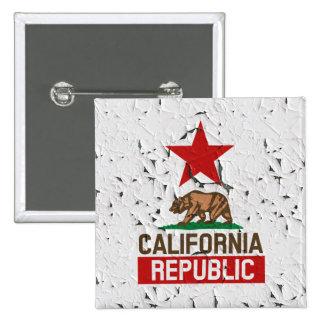 California Republic Peeling Paint Decor Pinback Button