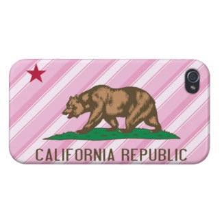 California Republic Pink Stripes Flag Covers For iPhone 4