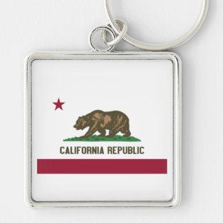 California Republic Silver-Colored Square Keychain