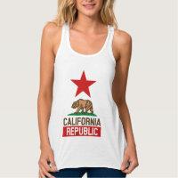 CALIFORNIA REPUBLIC State Flag Design Flowy Racerback Tank Top