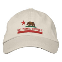 CALIFORNIA REPUBLIC State Flag Embroidered Cap