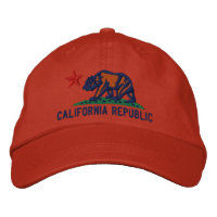 CALIFORNIA REPUBLIC State Flag Embroidered Cap Embroidered Hat