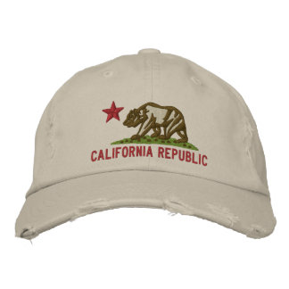 CALIFORNIA REPUBLIC State Flag Embroidered Cap Embroidered Hats
