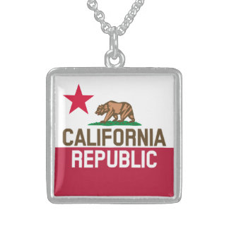 CALIFORNIA REPUBLIC State Flag Fitted Designs Sterling Silver Necklace