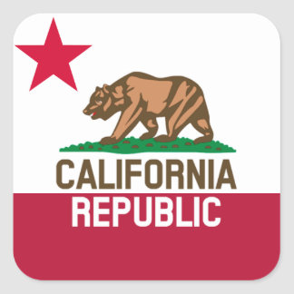 CALIFORNIA REPUBLIC State Flag Fitted Designs Square Sticker