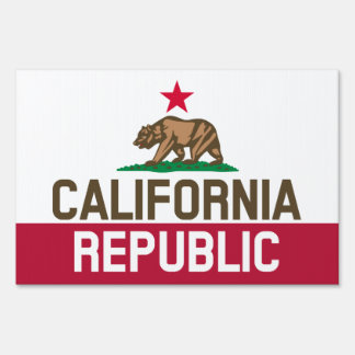 CALIFORNIA REPUBLIC State Flag Fitted Designs Yard Sign