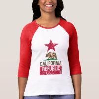 CALIFORNIA REPUBLIC State Flag Grunge Distressed Tshirts