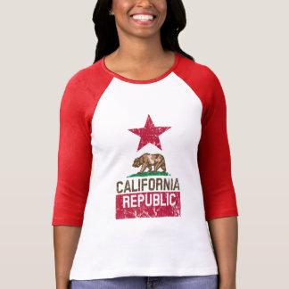 CALIFORNIA REPUBLIC State Flag Grunge Style T-Shirt
