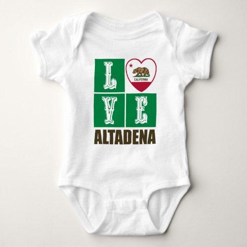 California Republic State Flag Heart Love Altadena Baby Bodysuit