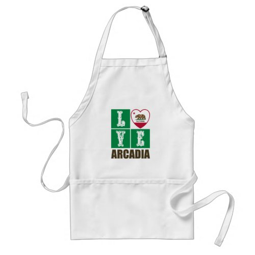 California Republic State Flag Heart Love Arcadia Adult Apron