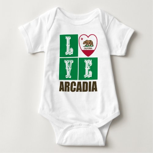 California Republic State Flag Heart Love Arcadia Baby Bodysuit