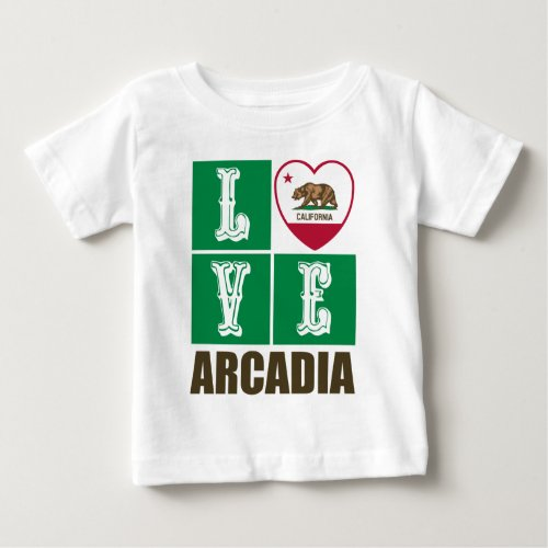 California Republic State Flag Heart Love Arcadia Baby T-Shirt