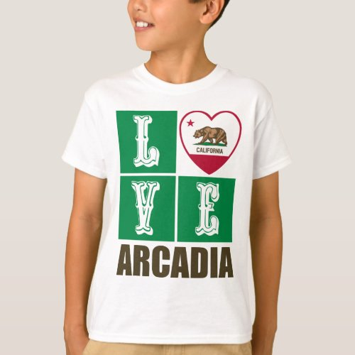 California Republic State Flag Heart Love Arcadia T-Shirt