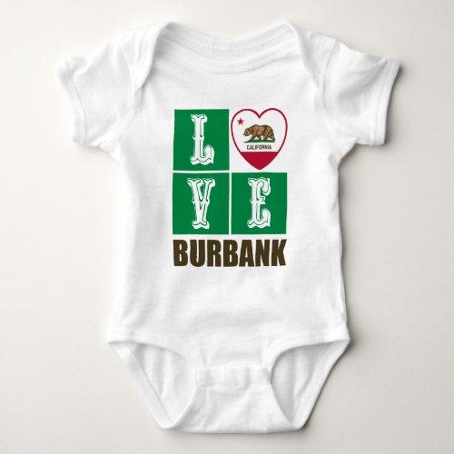 California Republic State Flag Heart Love Burbank Baby Bodysuit