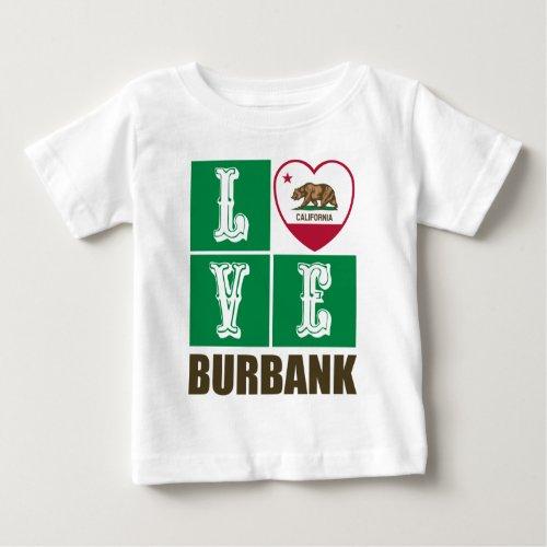 California Republic State Flag Heart Love Burbank Baby T-Shirt