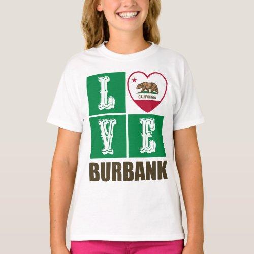California Republic State Flag Heart Love Burbank T-Shirt