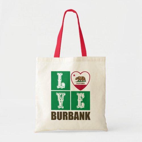 California Republic State Flag Heart Love Burbank Tote Bag