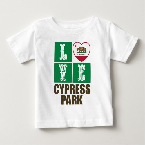 California Republic State Flag Heart Love Cypress Park Baby T-Shirt