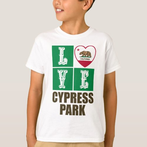 California Republic State Flag Heart Love Cypress Park T-Shirt