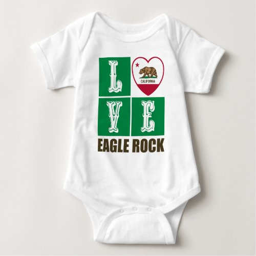 California Republic State Flag Heart Love Eagle Rock Baby Bodysuit