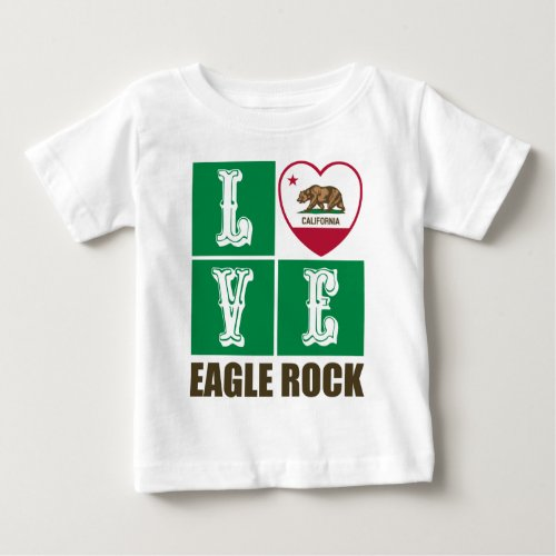 California Republic State Flag Heart Love Eagle Rock Baby T-Shirt
