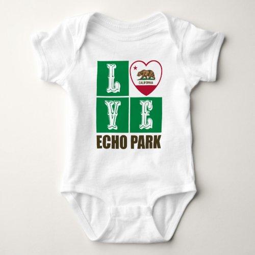 California Republic State Flag Heart Love Echo Park Baby Bodysuit