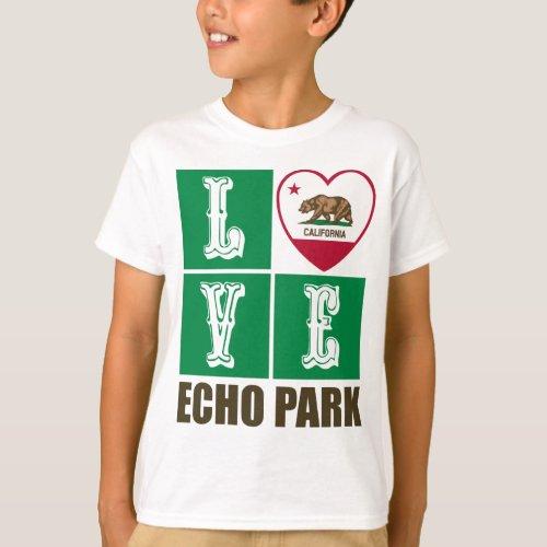 California Republic State Flag Heart Love Echo Park T-Shirt