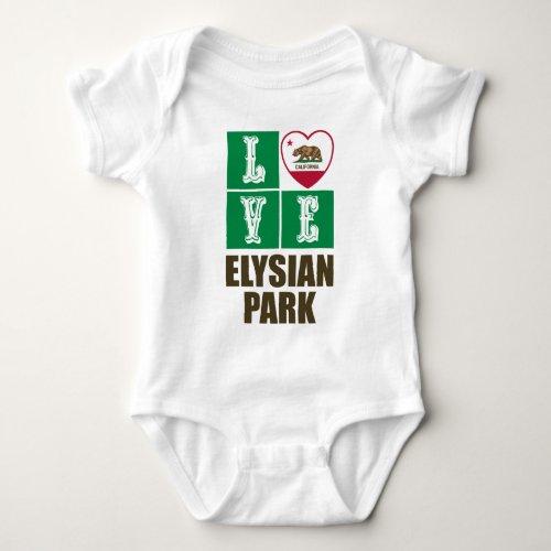 California Republic State Flag Heart Love Elysian Park Baby Bodysuit