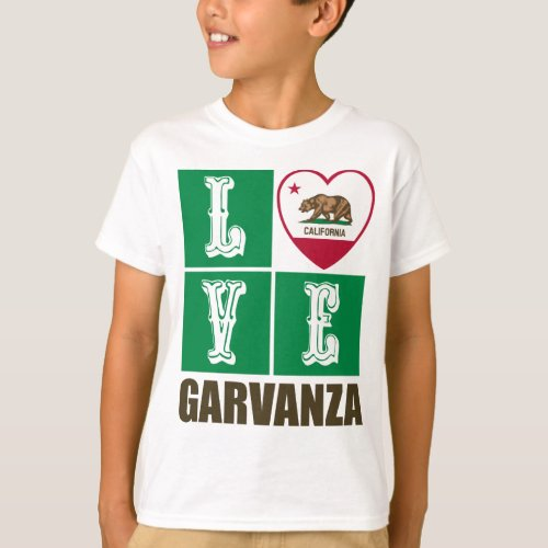 California Republic State Flag Heart Love Garvanza T-Shirt