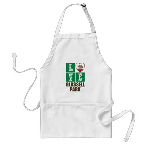 California Republic State Flag Heart Love Glassell Park Adult Apron