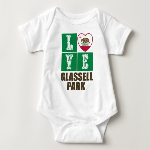 California Republic State Flag Heart Love Glassell Park Baby Bodysuit