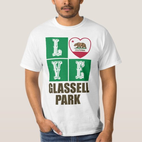 California Republic State Flag Heart Love Glassell Park T-Shirt