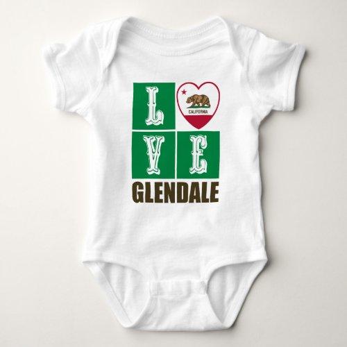 California Republic State Flag Heart Love Glendale Baby Bodysuit