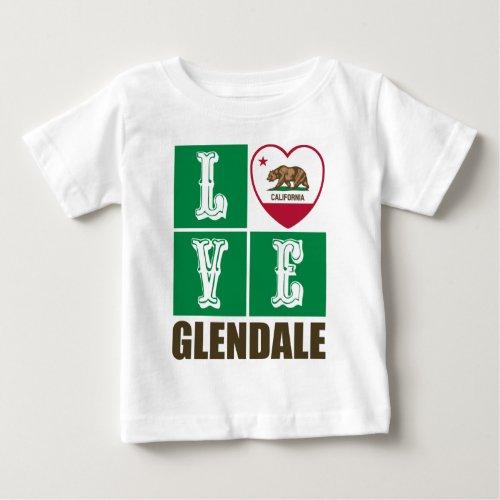 California Republic State Flag Heart Love Glendale Baby T-Shirt