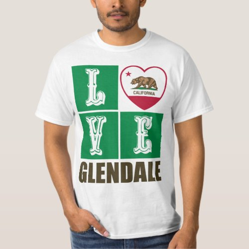 California Republic State Flag Heart Love Glendale T-Shirt