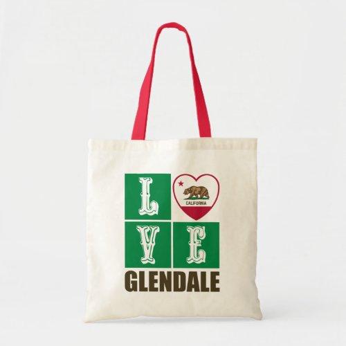 California Republic State Flag Heart Love Glendale Tote Bag