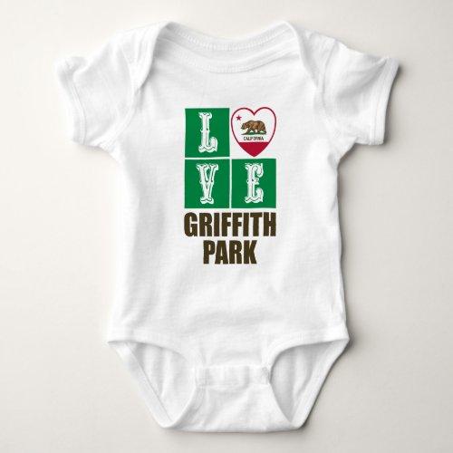 California Republic State Flag Heart Love Griffith Park Baby Bodysuit