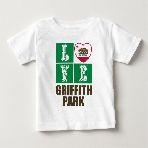 California Republic State Flag Heart Love Griffith Park Baby T-Shirt