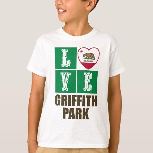 California Republic State Flag Heart Love Griffith Park T-Shirt