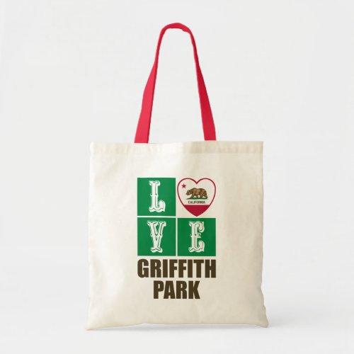 California Republic State Flag Heart Love Griffith Park Tote Bag